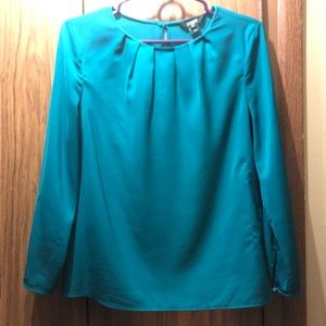 J. Crew emerald green silk blouse